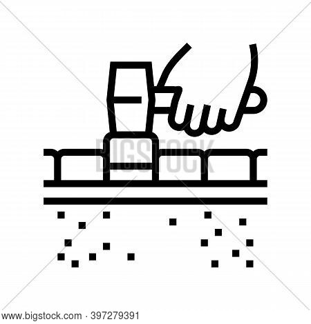 Lay Tiles Road Line Icon Vector. Lay Tiles Road Sign. Isolated Contour Symbol Black Illustration