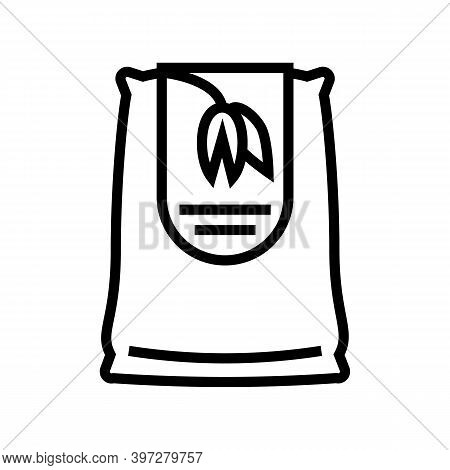 Oat Bag Line Icon Vector. Oat Bag Sign. Isolated Contour Symbol Black Illustration