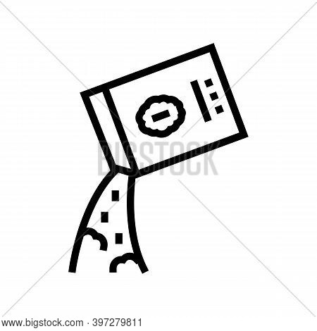 Falling Porridge From Bag Line Icon Vector. Falling Porridge From Bag Sign. Isolated Contour Symbol