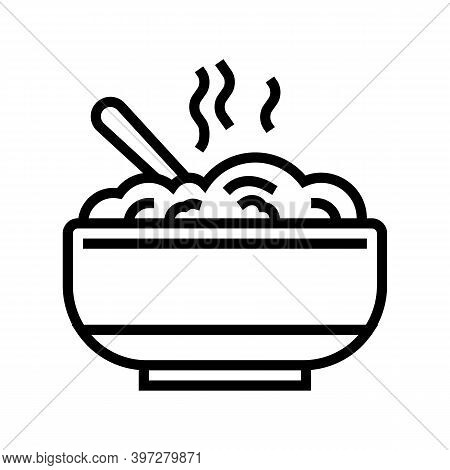 Delicious Boiled Oatmeal Line Icon Vector. Delicious Boiled Oatmeal Sign. Isolated Contour Symbol Bl