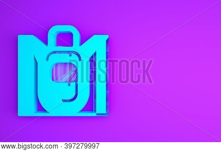 Blue Hiking Backpack Icon Isolated On Purple Background. Camping And Mountain Exploring Backpack. Mi