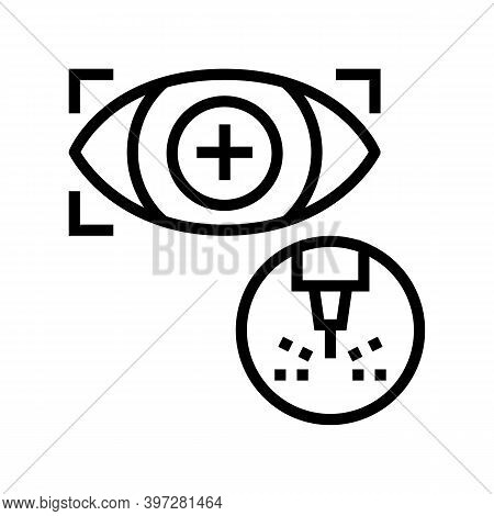 Eye Vision Laser Treatment Line Icon Vector. Eye Vision Laser Treatment Sign. Isolated Contour Symbo