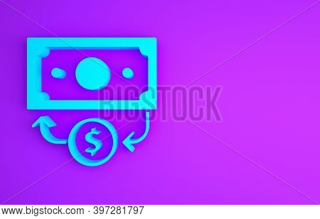 Blue Stacks Paper Money Cash Icon Isolated On Purple Background. Money Banknotes Stacks. Bill Curren