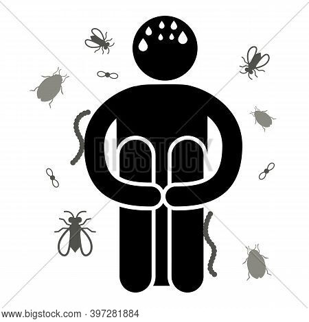 Entomophobia. Phobia Fear Of Insects Or Bugs. Vector Illustration. Isolated. Logo, Icon, Silhouette.
