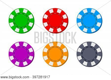 Poker Chip For Casino. Blackjack Icon. Token For Gambling. Logos Isolated For Game. Coins From Las V