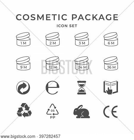 Set Icons Of Cosmetic Package Isolated On White. Period After Opening Or Pao Symbol. Recycling Or Re
