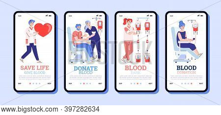 Onboarding Screen Interfaces Set For Blood Donation, Cartoon Vector Illustration. Mobile Application