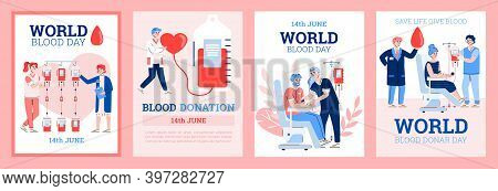 World Blood Day. Design Of Posters With Characters Donors Sitting In A Medical Chairs And Donations
