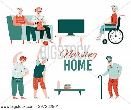 Nursing Home Advertising Banner Template With Senior And Disabled People Cartoon Characters, Flat Ve