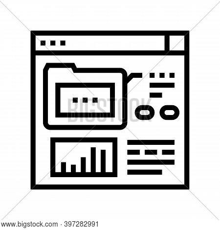 Electronic Folder Fix Incident Line Icon Vector. Electronic Folder Fix Incident Sign. Isolated Conto