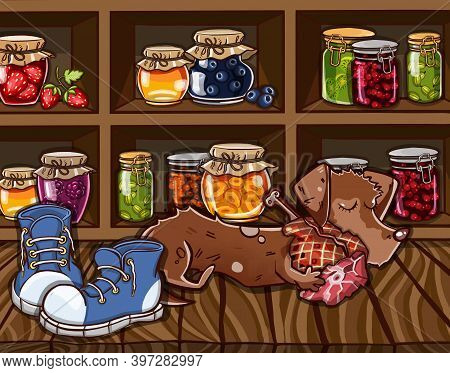 Cellar With Jam, Juice And A Dog.
