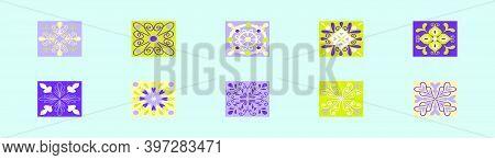 Set Of Talavera Tiles Cartoon Icon Design Template With Various Models. Modern Vector Illustration I