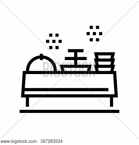 Buffet Table With Food Line Icon Vector. Buffet Table With Food Sign. Isolated Contour Symbol Black