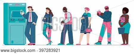 Atm Queue - Cartoon People Standing In Line For Cash Machine Isolated On White Background. Vector Il