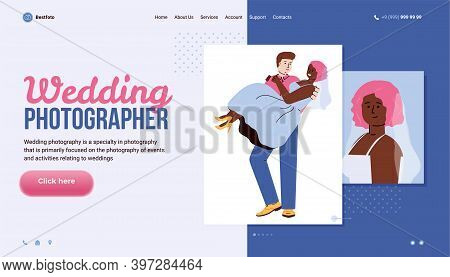 Vector Design Of Web Site For Professional Wedding Photographer. Pictures Of Happy Groom And Bride.