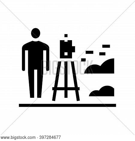 Worker With Lever Researching Place For Building Road Glyph Icon Vector. Worker With Lever Researchi