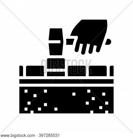 Lay Tiles Road Glyph Icon Vector. Lay Tiles Road Sign. Isolated Contour Symbol Black Illustration