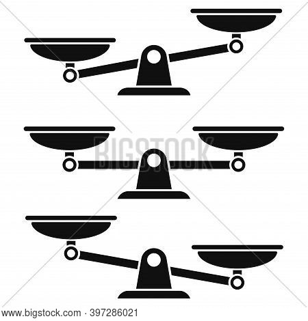 Scale Icons Isolated On White Background. Symbol Weight Balance. Vector Signs Of Law, Justice And Pu