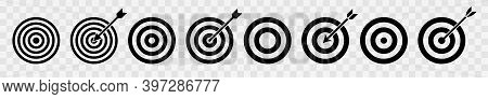 Set Of Target Vector Icon. Target With Arrow. Arrows Hitting The Target. Victory Signs Isolated On T