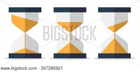 Flat Sandglass With Animation. Time Hourglass Symbol.timer, Clock Sign Isolated On White Background.