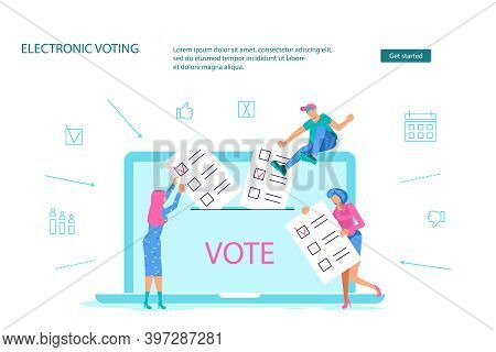 Landing Webpage Template Of Electronic Voting. Tiny People Put On Their List Newsletters To Voting B