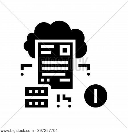 Cloud Storage Incident Glyph Icon Vector. Cloud Storage Incident Sign. Isolated Contour Symbol Black