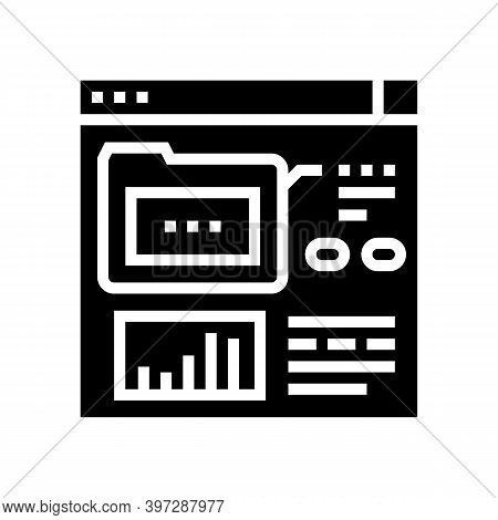 Electronic Folder Fix Incident Glyph Icon Vector. Electronic Folder Fix Incident Sign. Isolated Cont