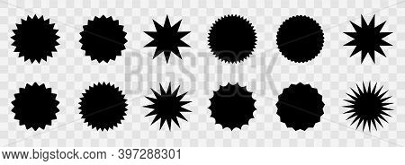 Set Of Vector Starburst Badges. Red Blank Icons On Transparent Background. Simple Flat Style Vintage