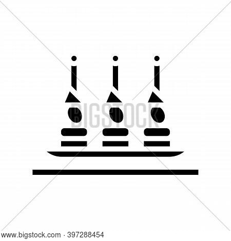 Canapes Snack Glyph Icon Vector. Canapes Snack Sign. Isolated Contour Symbol Black Illustration