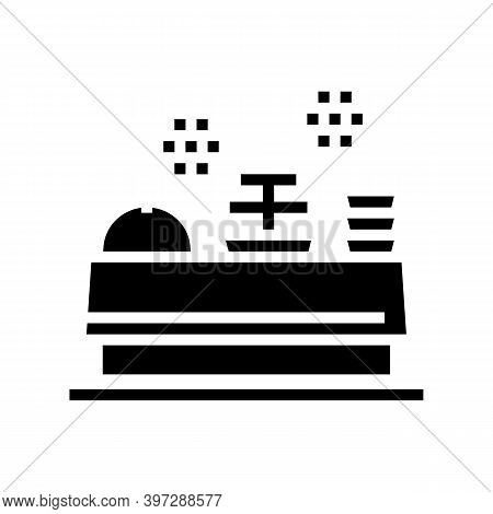 Buffet Table With Food Glyph Icon Vector. Buffet Table With Food Sign. Isolated Contour Symbol Black