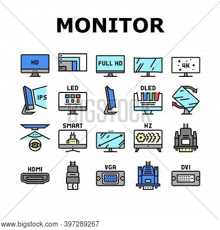 Computer Pc Monitor Collection Icons Set Vector. Full Hd And 4k Resolution, Oled, Ips And Led Displa