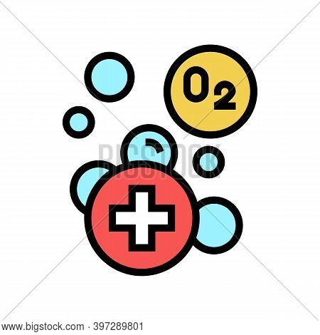 Water Adding Oxygen Color Icon Vector. Water Adding Oxygen Sign. Isolated Symbol Illustration
