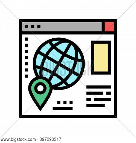 Web Site Map Location Color Icon Vector. Web Site Map Location Sign. Isolated Symbol Illustration