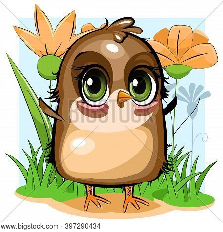 Sparrow. A Funny Chick Is Trying To Take Off. Cute And Funny Baby Bird. The Isolated Object On A Whi