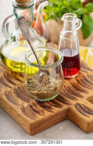 Herbs, With Oil And Vinegar, Making Homemade Salad Dressing