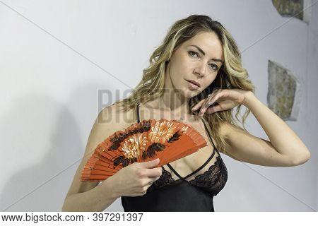 Half-length Portrait Of Blond Girl. Women's Sexy Underwear In Black Lace. Sheer V-neck Petticoat, Li