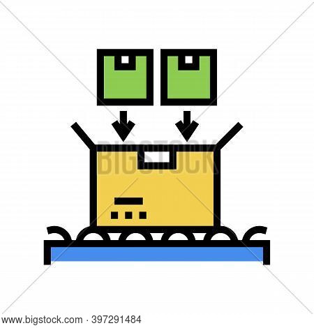 Filled Product Boxes Packing In Container Color Icon Vector. Filled Product Boxes Packing In Contain