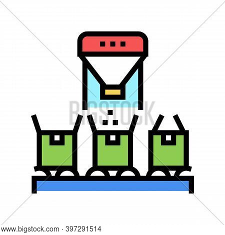 Boxes Filling With Goods Color Icon Vector. Boxes Filling With Goods Sign. Isolated Symbol Illustrat