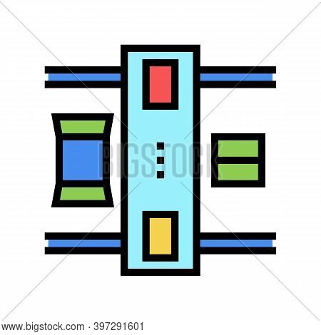 Machine For Closed Boxes Color Icon Vector. Machine For Closed Boxes Sign. Isolated Symbol Illustrat