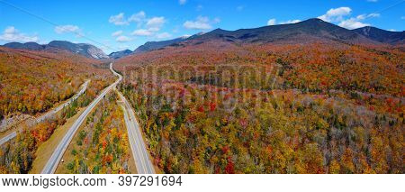 Interstate Highway I-93 Across Franconia Notch Panorama Between Cannon Mountain And Mount Lafayette