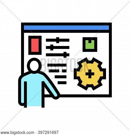 Box Characteristics Presentation Color Icon Vector. Box Characteristics Presentation Sign. Isolated