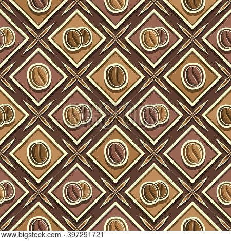 Vector Coffee Seamless Pattern, Square Repeating Coffee Background, Isolated Illustrations Of Roaste