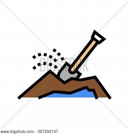 Shovel Dig Hole Color Icon Vector. Shovel Dig Hole Sign. Isolated Symbol Illustration
