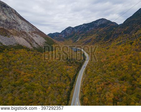 Franconia Notch With Fall Foliage Aerial View Including Profile Lake And Echo Lake In Franconia Notc
