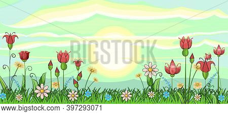 Blooming Meadow With Grass And Flowers. Sky. The Sun Is On The Horizon. Scenery. Cartoon Style. Roma