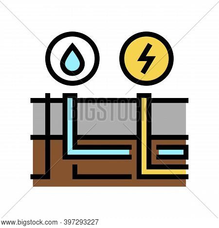 Building Drainage And Electricity Color Icon Vector. Building Drainage And Electricity Sign. Isolate