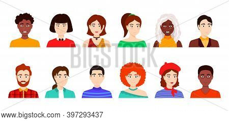 Cartoon Color Characters People Avatars Concept Flat Design Style. Vector Illustration Of Different