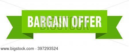Bargain Offer Ribbon. Bargain Offer Paper Band Banner Sign