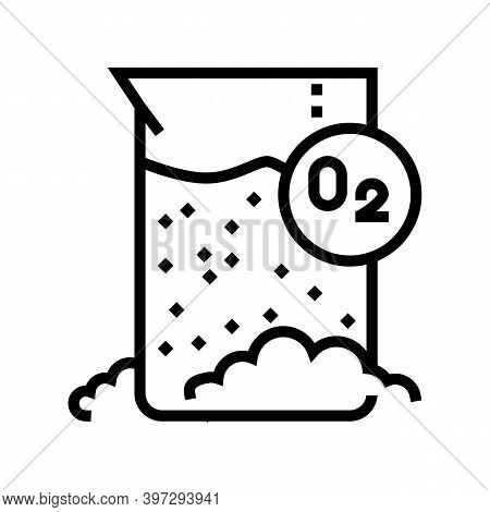 Chemical Reaction On Oxygen Line Icon Vector. Chemical Reaction On Oxygen Sign. Isolated Contour Sym
