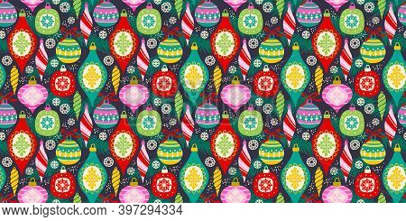 Vector Seamless Pattern With New Year And Christmas Symbols.